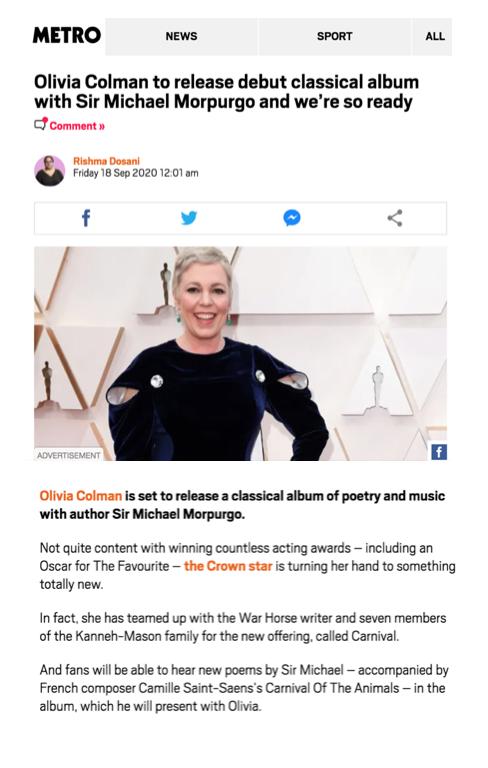 Olivia Colman for Metro.co.uk